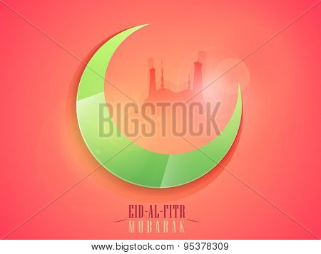 Glossy green crescent moon with mosque on shiny pink background for Islamic festival, Eid-Al-Fitr celebration.