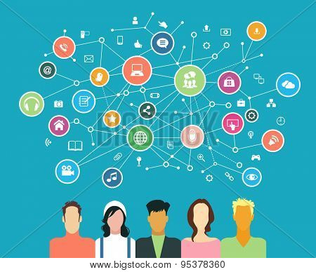 The concept of business communication in a computer network. Avatars of people surrounded by abstract network and interface icons