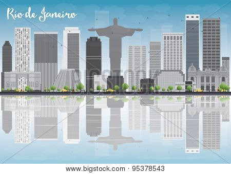 Rio de Janeiro skyline with grey buildings and blue sky. Vector illustration
