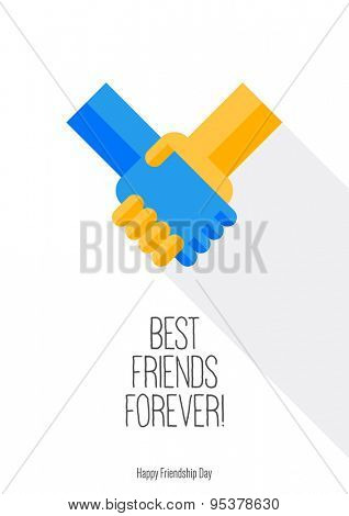 Happy Friendship day background with handshake. Best Friends Forever.