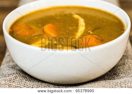 bowl of Mediterranean french fish soup Bouillabaisse
