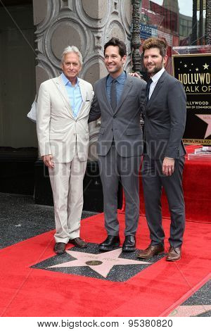 LOS ANGELES - JUL 1:  Michael Douglas, Paul Rudd, Adam Scott at the Paul Rudd Hollywood Walk of Fame Star Ceremony at the El Capitan Theater Sidewalk on July 1, 2015 in Los Angeles, CA