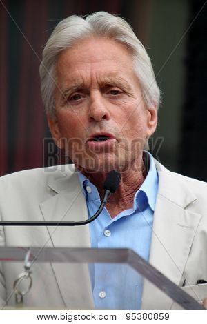 LOS ANGELES - JUL 1:  Michael Douglas at the Paul Rudd Hollywood Walk of Fame Star Ceremony at the El Capitan Theater Sidewalk on July 1, 2015 in Los Angeles, CA