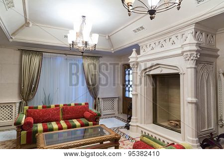 Novi Petrivtsi, Ukraine - May 27, 2015 Mezhigirya residence of ex-president of Ukraine Yanukovich. Living room with modern furniture