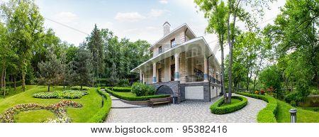 Novi Petrivtsi, Ukraine - May 27, 2015 Mezhigirya residence of ex-president of Ukraine Yanukovich. Guest house of Mezhigirya residence