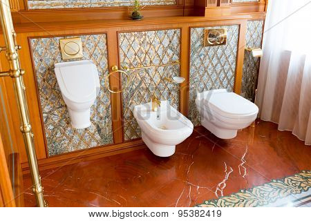 Novi Petrivtsi, Ukraine - May 27, 2015 Mezhigirya residence of ex-president of Ukraine Yanukovich. Closeup of luxurious toilet