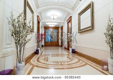 Novi Petrivtsi, Ukraine - May 27, 2015 Mezhigirya residence of ex-president of Ukraine Yanukovich. Long luxurious hall