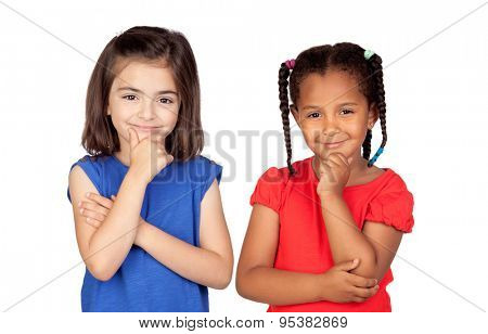 Pensive little girls thinking isolated on a white background