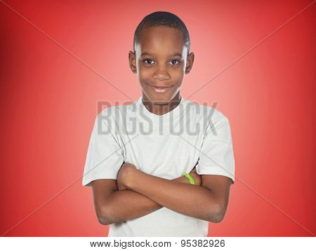 Afroamerican teenager boy on a red background