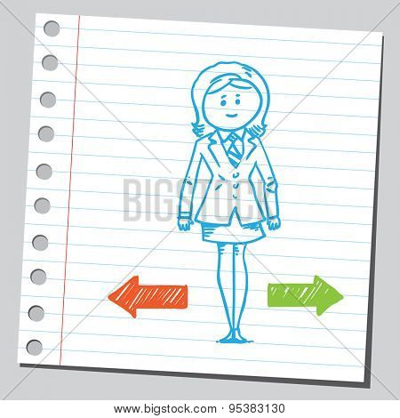 Businesswoman  need to make a choice between two directions