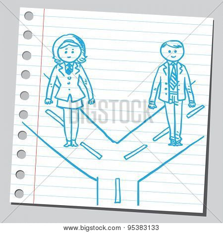 Businesswoman and businessman in two ways