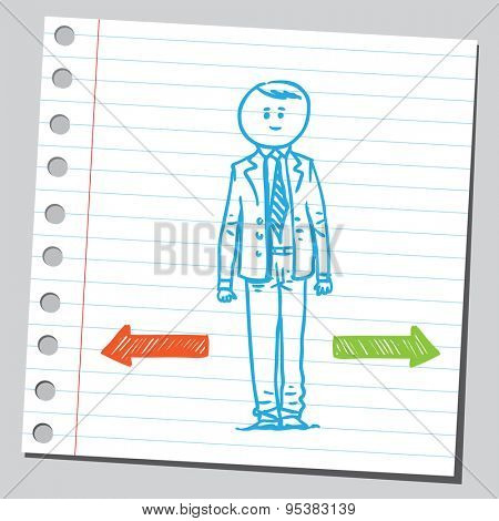 Businessman need to make a choice between two directions