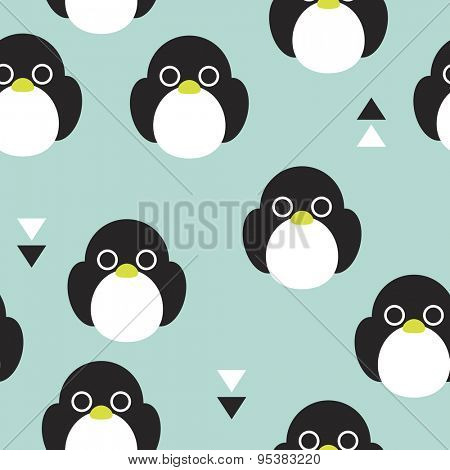 Seamless kids penguin adorable baby bird winter theme illustration background pattern in vector