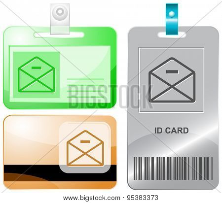 mail minus. Vector id cards.