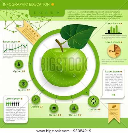 Education Template with green apple, web icons and place for your content. Concept vector illustration