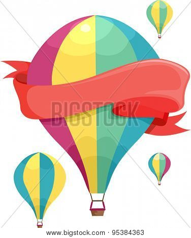 Illustration of Colorful Hot Air Balloons Floating in the Sky
