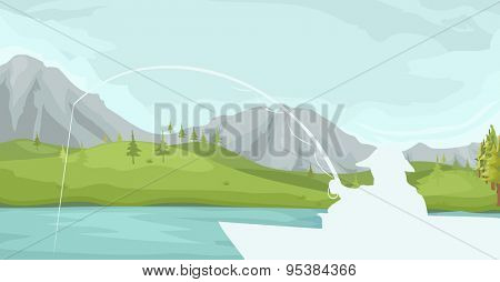 Illustration of a Fishing Pole Dipped in Lake Water