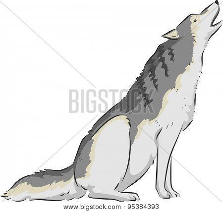 Illustration of a Wolf Howling on Top of its Lungs