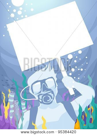 Illustration of a Man Holding a Picket Sign While Underwater