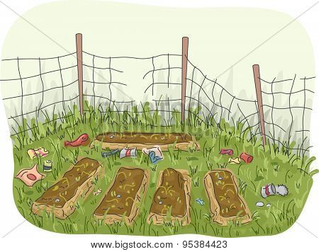 Illustration of an Abandoned Garden with Garbage Scattered All Around