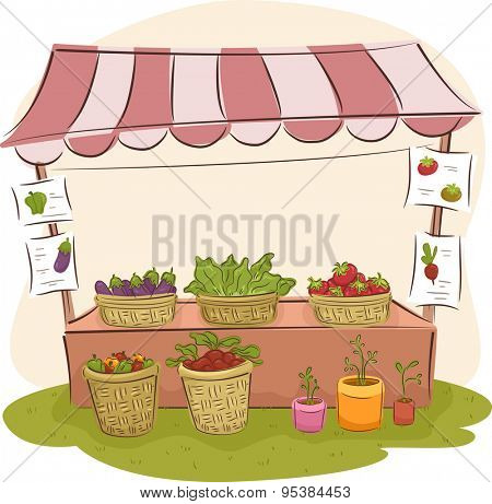 Illustration of a Market Stall Selling Fresh Fruits and Vegetables