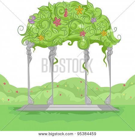 Illustration of a Garden Arbor with Colorful Flowers Growing on Top