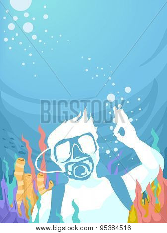 Illustration of a Man Doing the Okay Sign While Underwater
