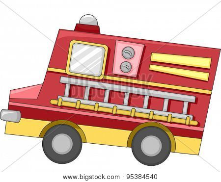 Cute Illustration of a Firetruck with a Ladder Attached to its Side