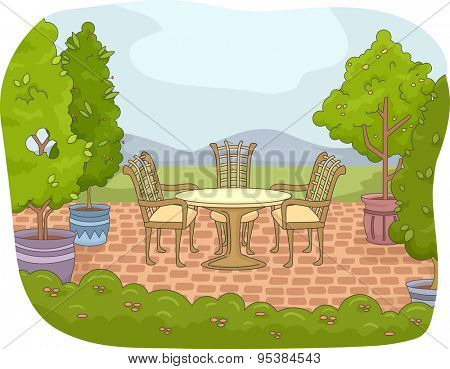 Illustration of a Backyard Patio with a Garden Nearby