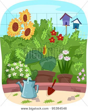 Scenic Illustration of a Garden Filled with Colorful Flowers