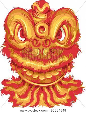 Illustration of a Dragon Mascot Typically Seen in Chinese New Year Celebrations
