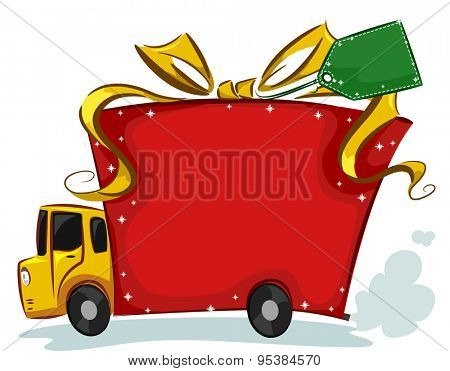Illustration of a Delivery Truck Designed to Look Like a Present
