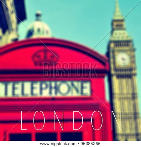 the word London and a classic red telephone booth and the Big Ben in the background, in London, United Kingdom