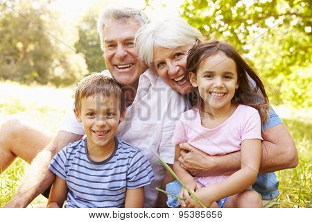 Grandparents sitting outdoors with their grandchildren