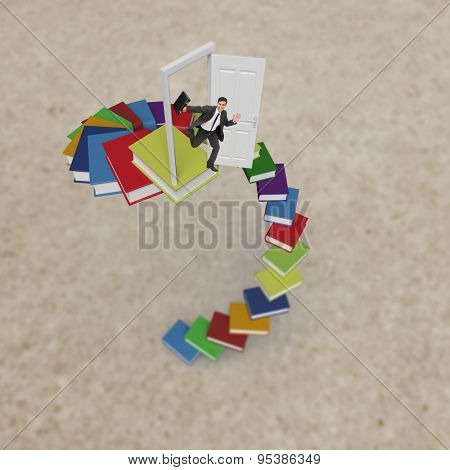 Smiling businessman in a hurry against path