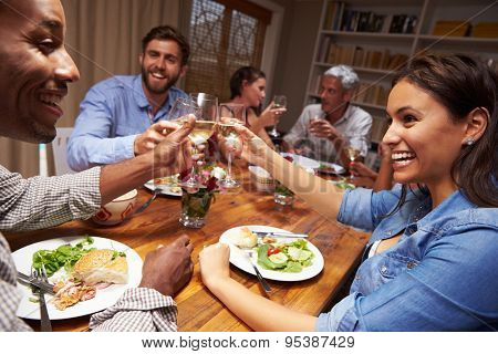 Friends at an evening dinner party