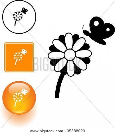 flower and butterfly symbol sign and button