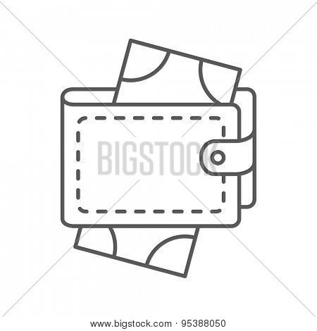 Thin Line Wallet Web Icon