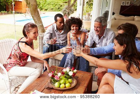 Group of friends making a celebratory toast in conservatory