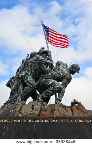 WASHINGTON, DC - FEBRUARY 26, 2014: Iwo Jima Memorial in Washington DC. The Memorial honors the Marines who have died defending the US since 1775 and a prominent tourist attraction in Washington DC.