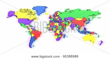 Colourful world map with national borders