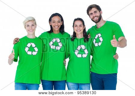 Friends wearing recycling shirts gesturing thumbs up