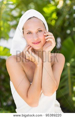 a woman preparing herself for spa day in an health farm