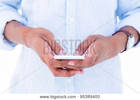 Close up of hipster using his smartphone on white background