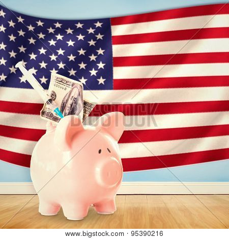 Health insurance concept against digitally generated american national flag