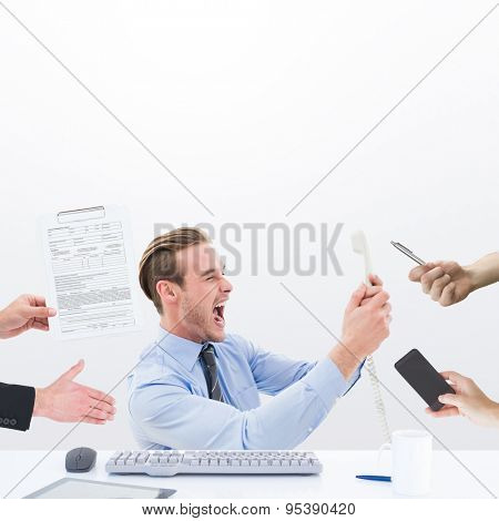 Composite image of businessman in suit offering his hand