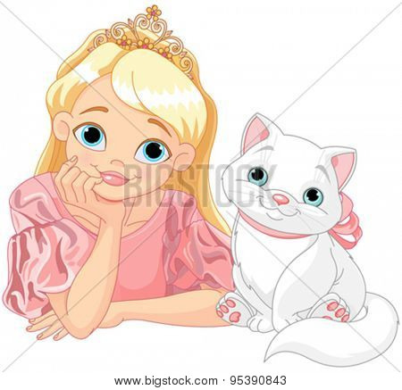 Fairytale Princess is kissing a white cat