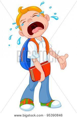 Illustration of crying boy walking to school