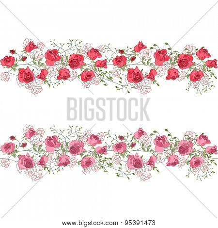 Two seamless pattern brushes with red and pink roses. Endless texture. Seamless horizontal pattern for wedding announcements