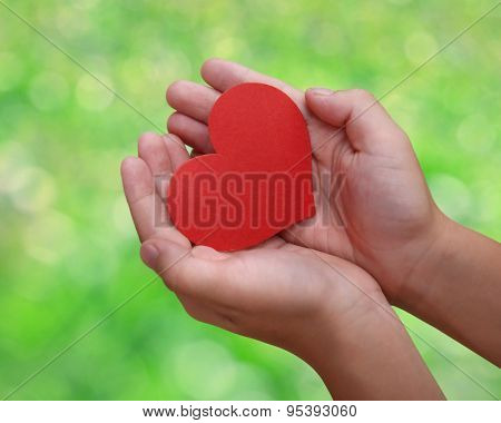 Child's hands with a red heart